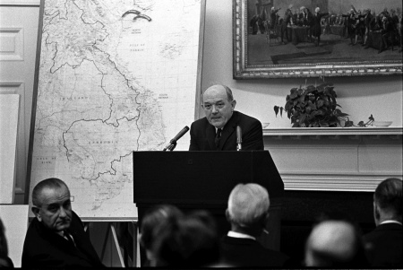 March 18, 1967. Afternoon. Secretary of State Dean Rusk conducts a briefing on Vietnam for state governors in the Fish Room of the White House.